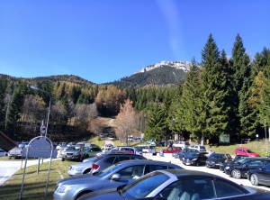 carpark, mountain in the background - our destination