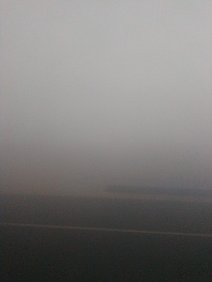 6am: Thick Fog on the Dukhan Highway slows us down