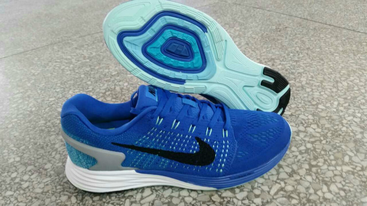 men nike lunarglide 7 running shoes casual shoes sneaker in deep blue and  black