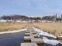 steps across the river in Gangneung city