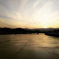 Frozen river in Gangneung city