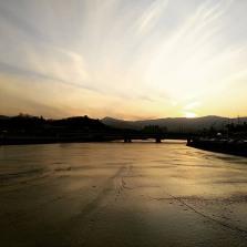 Frozen river in Gangneung city